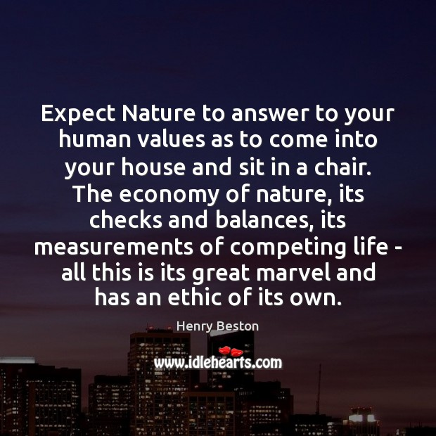 Expect Nature to answer to your human values as to come into Henry Beston Picture Quote