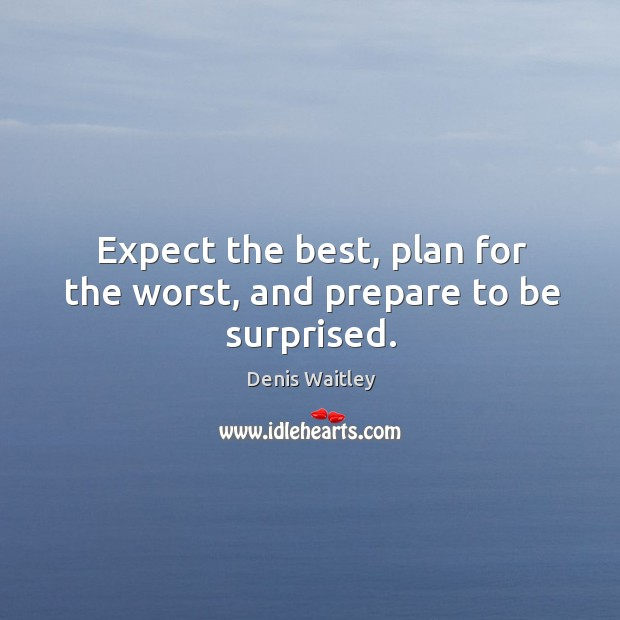 Image, Expect the best, plan for the worst, and prepare to be surprised.