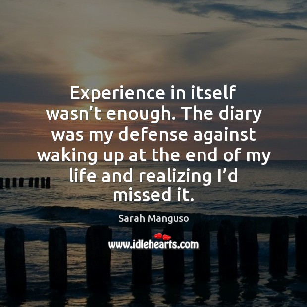 Experience in itself wasn't enough. The diary was my defense against Image
