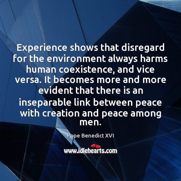 Experience shows that disregard for the environment always harms human coexistence, and Coexistence Quotes Image