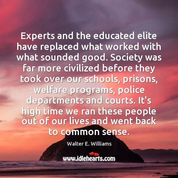 Experts and the educated elite have replaced what worked with what sounded Image