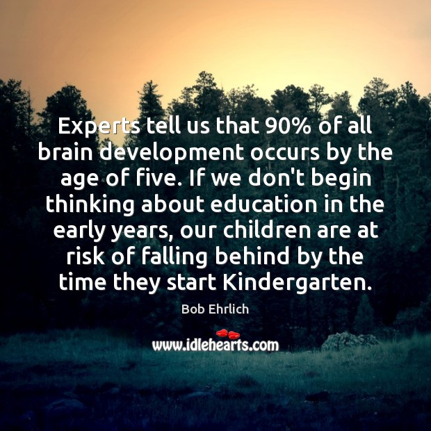 Experts tell us that 90% of all brain development occurs by the age Bob Ehrlich Picture Quote