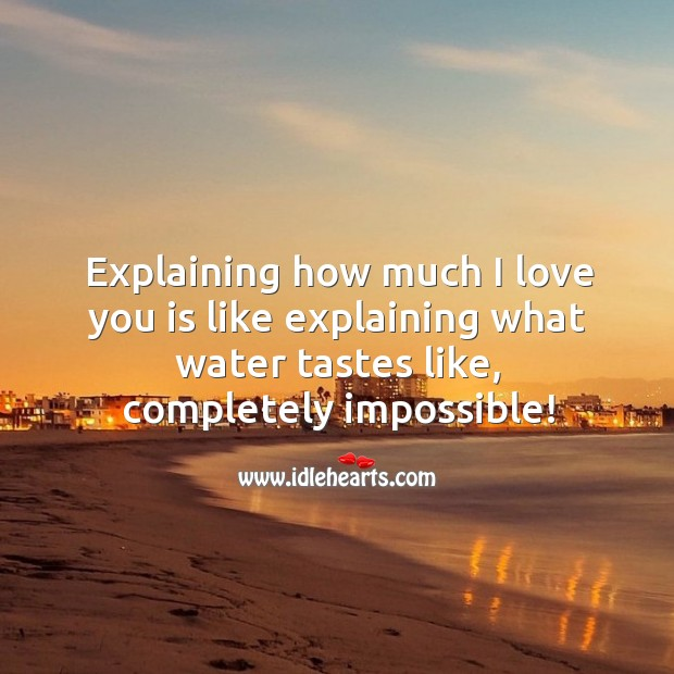 Explaining how much I love you is like explaining what water tastes like. Water Quotes Image