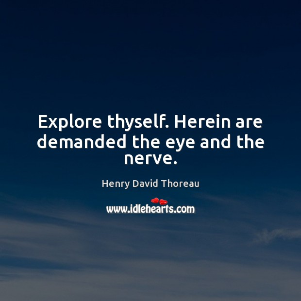 Explore thyself. Herein are demanded the eye and the nerve. Image