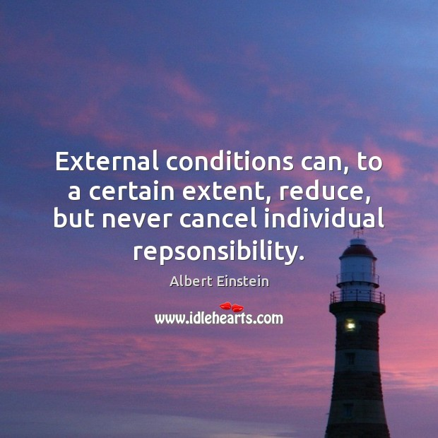 Image, External conditions can, to a certain extent, reduce, but never cancel individual