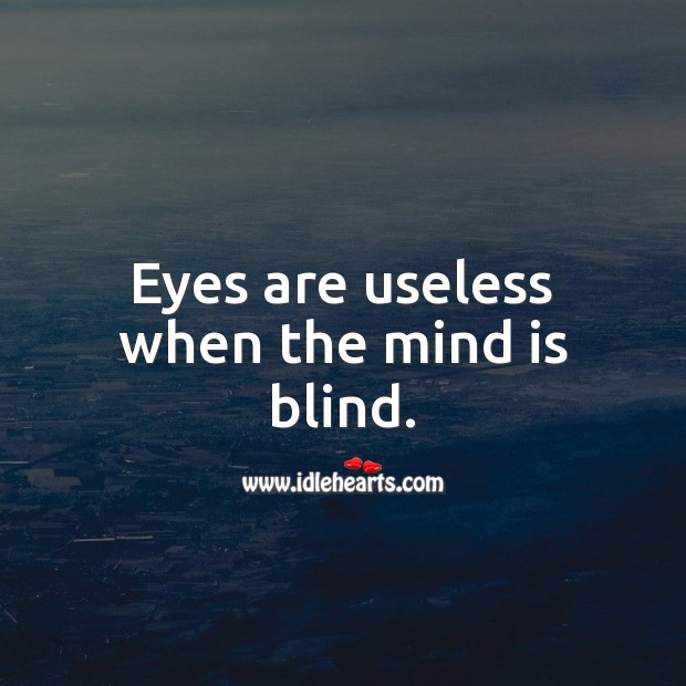 Eyes are useless when the mind is blind. Wise Quotes Image