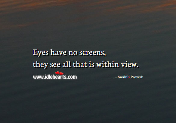 Image, Eyes have no screens, they see all that is within view.