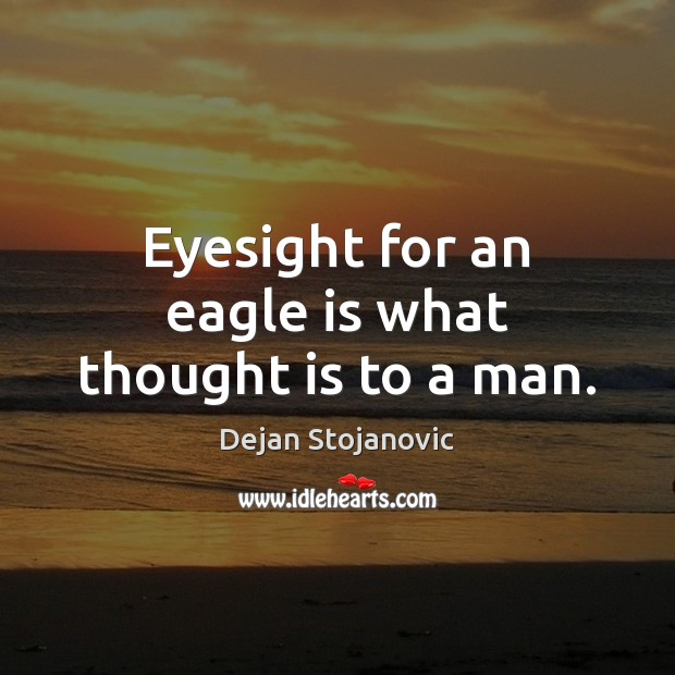 Eyesight for an eagle is what thought is to a man. Dejan Stojanovic Picture Quote