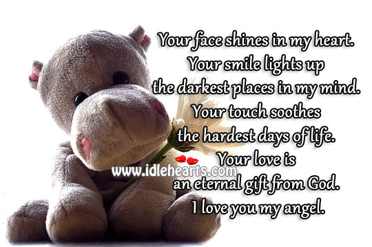 Your face shines in my heart. Image