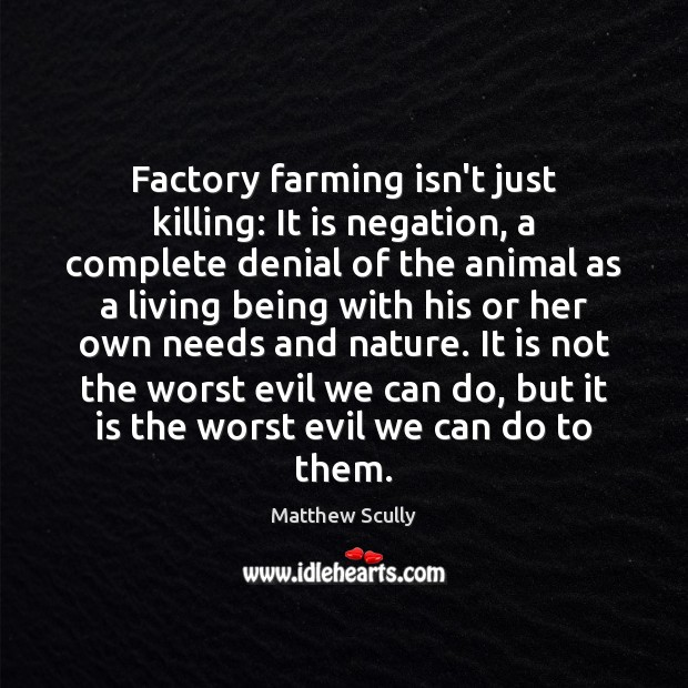 Factory farming isn't just killing: It is negation, a complete denial of Matthew Scully Picture Quote