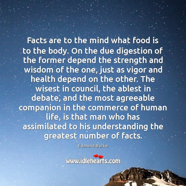 Facts are to the mind what food is to the body. On Image