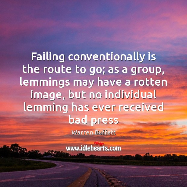 Image, Failing conventionally is the route to go; as a group, lemmings may