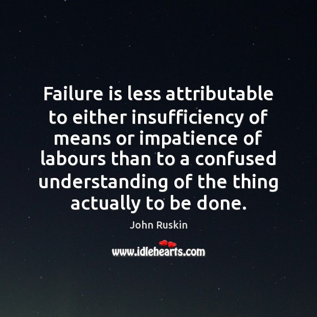 Image, Failure is less attributable to either insufficiency of means or impatience of