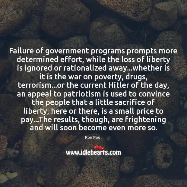Image, Failure of government programs prompts more determined effort, while the loss of