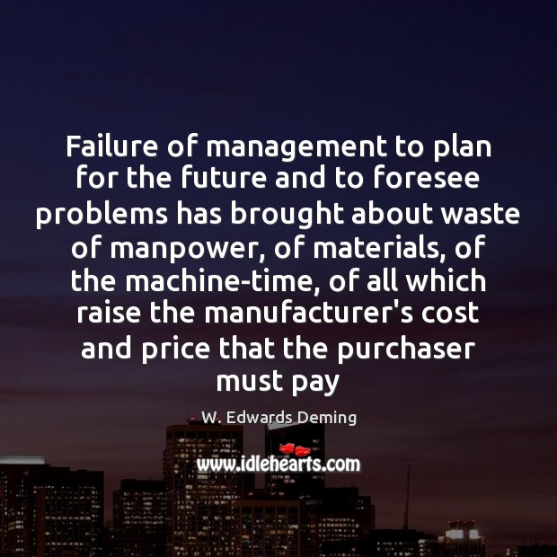 Image, Failure of management to plan for the future and to foresee problems