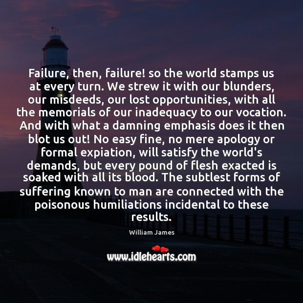 Failure, then, failure! so the world stamps us at every turn. We William James Picture Quote