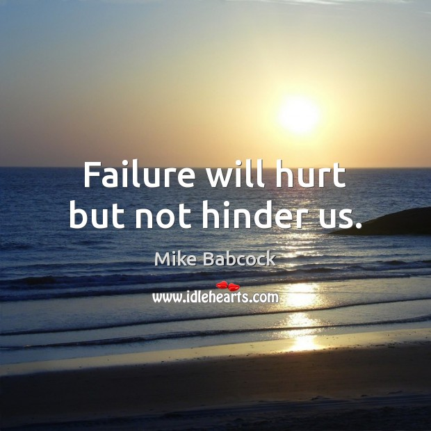 Failure will hurt but not hinder us. Image