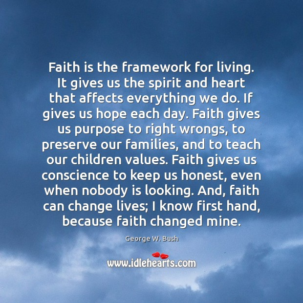 Image, Faith is the framework for living. It gives us the spirit and