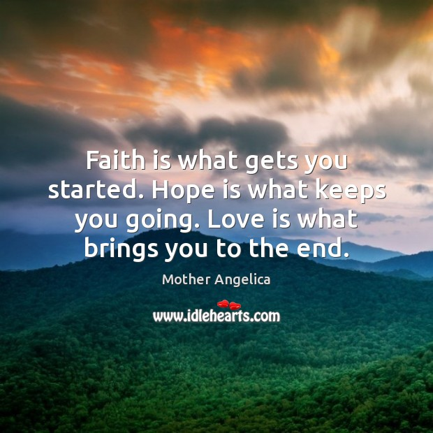 Faith is what gets you started. Hope is what keeps you going. Faith Quotes Image
