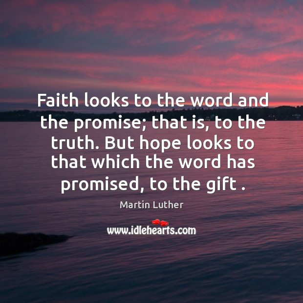 Faith looks to the word and the promise; that is, to the Image