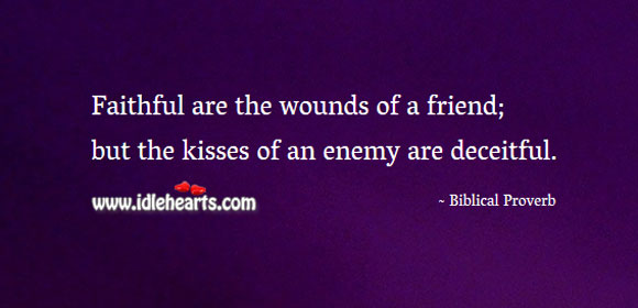 Faithful are the wounds of a friend Biblical Proverbs Image