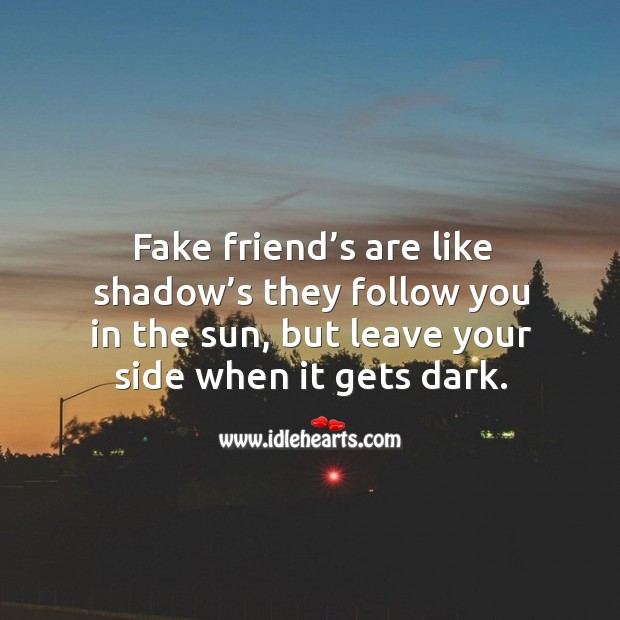 Fake friend's are like shadow's they follow you in the sun, but leave your side when it gets dark. Image