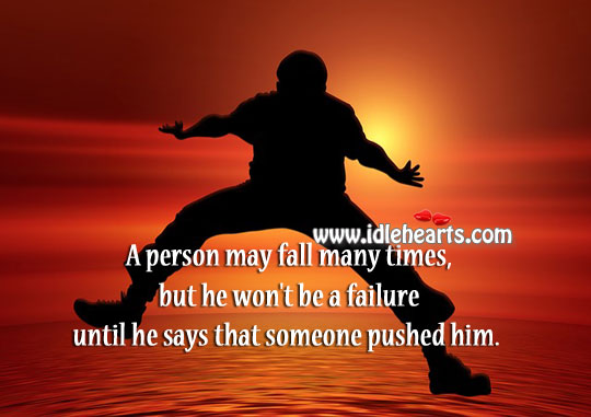 A person may fall many times Failure Quotes Image