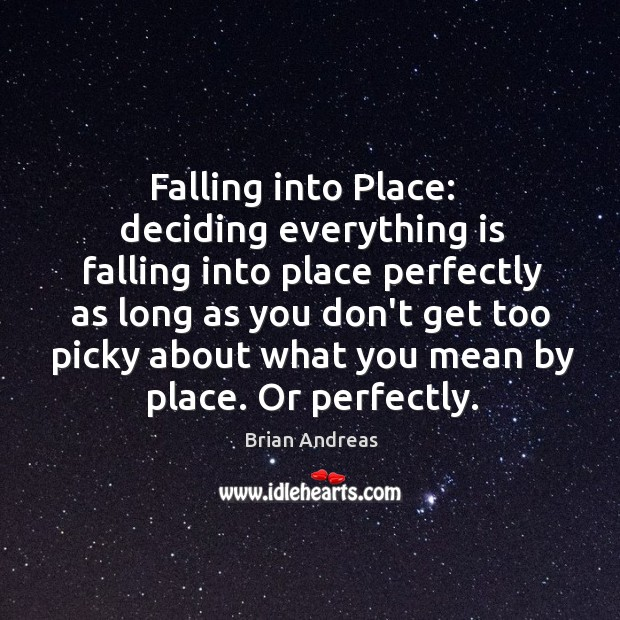 Image, Falling into Place:   deciding everything is falling into place perfectly as long
