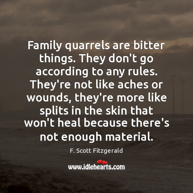 Family quarrels are bitter things. They don't go according to any rules. F. Scott Fitzgerald Picture Quote