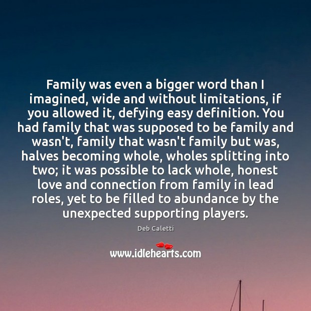Family was even a bigger word than I imagined, wide and without Deb Caletti Picture Quote