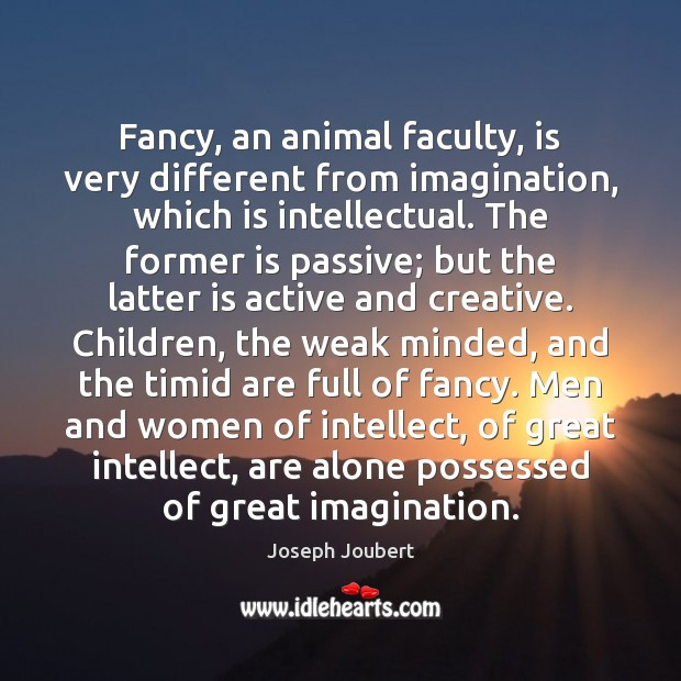 Image, Fancy, an animal faculty, is very different from imagination, which is intellectual.
