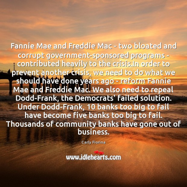 Fannie Mae and Freddie Mac – two bloated and corrupt government-sponsored programs Carly Fiorina Picture Quote