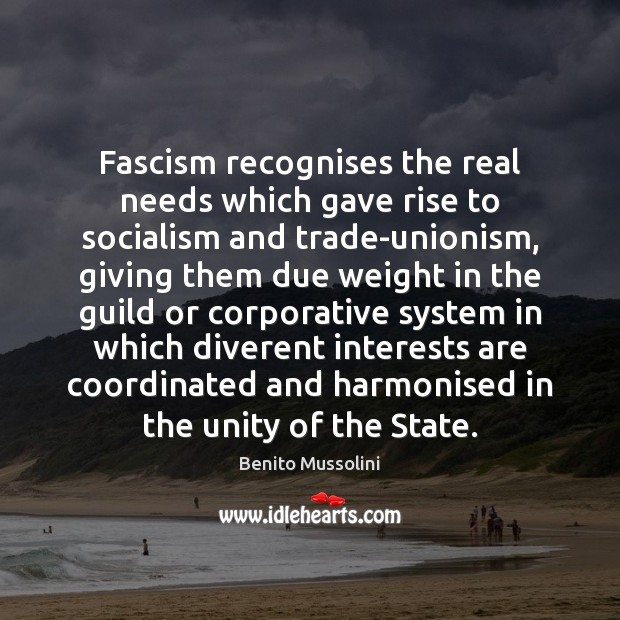 Image, Fascism recognises the real needs which gave rise to socialism and trade-unionism,