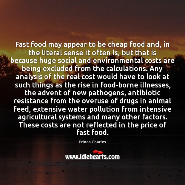 Fast food may appear to be cheap food and, in the literal Image