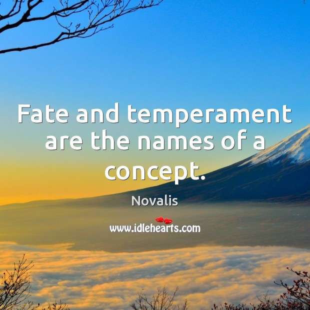 Fate and temperament are the names of a concept. Novalis Picture Quote