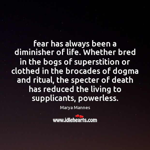 Fear has always been a diminisher of life. Whether bred in the Marya Mannes Picture Quote