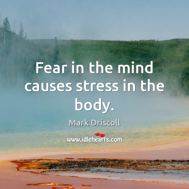 Fear in the mind causes stress in the body. Mark Driscoll Picture Quote