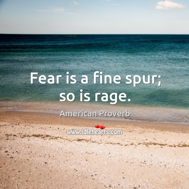 Fear is a fine spur; so is rage. Image