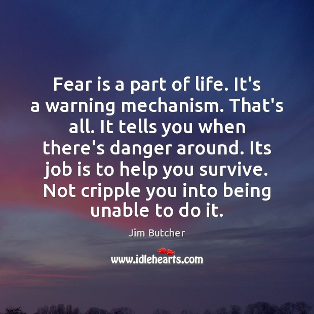 Fear is a part of life. It's a warning mechanism. That's all. Image