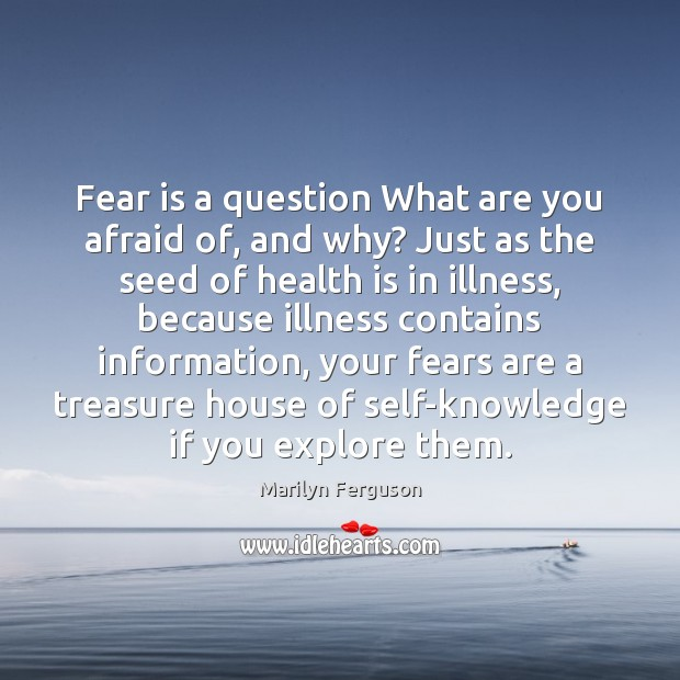 Fear is a question What are you afraid of, and why? Just Image