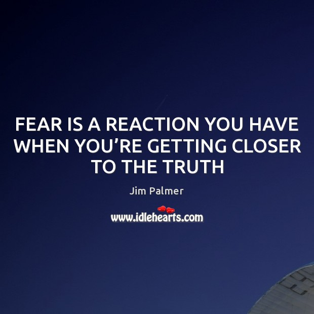 FEAR IS A REACTION YOU HAVE WHEN YOU'RE GETTING CLOSER TO THE TRUTH Image