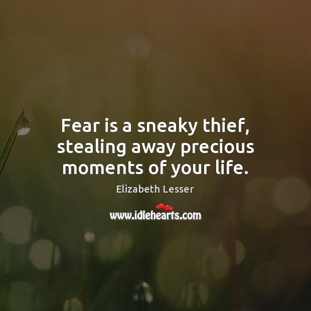 Fear is a sneaky thief, stealing away precious moments of your life. Elizabeth Lesser Picture Quote