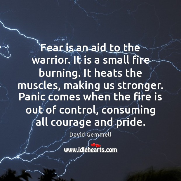 Fear is an aid to the warrior. It is a small fire Image