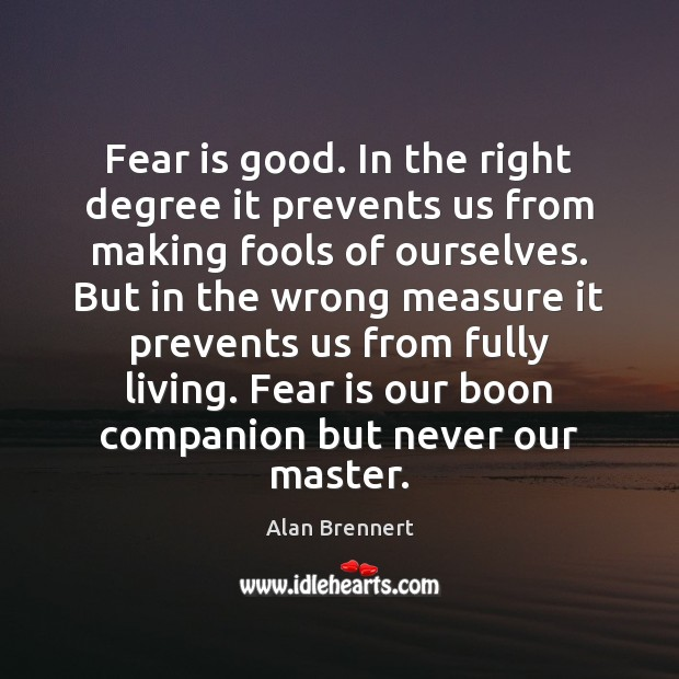 Image, Fear is good. In the right degree it prevents us from making