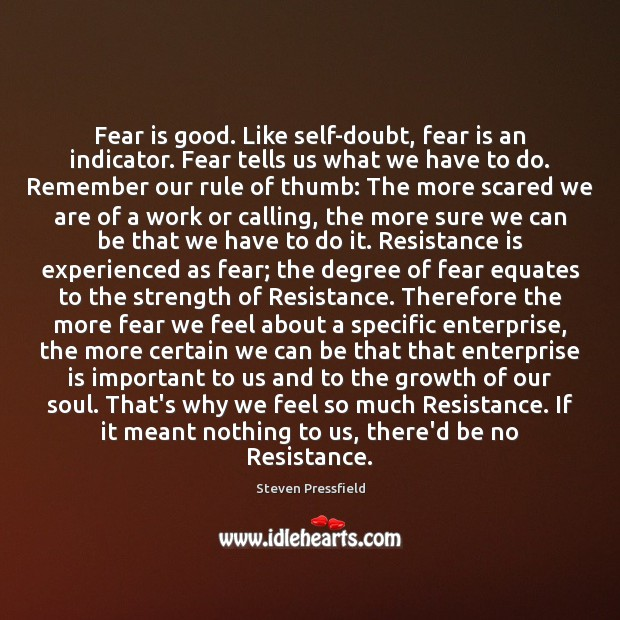 Fear is good. Like self-doubt, fear is an indicator. Fear tells us Steven Pressfield Picture Quote