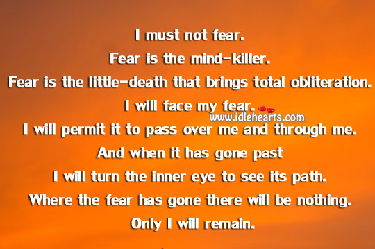 I will face my fear. Image