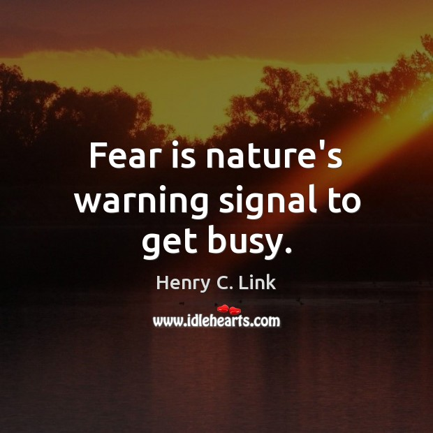 Fear is nature's warning signal to get busy. Image