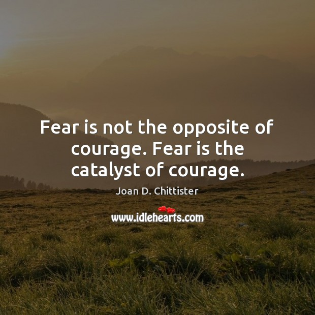 Image, Fear is not the opposite of courage. Fear is the catalyst of courage.