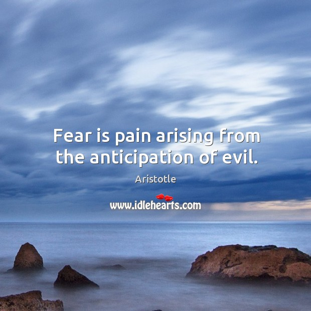 Image, Fear is pain arising from the anticipation of evil.