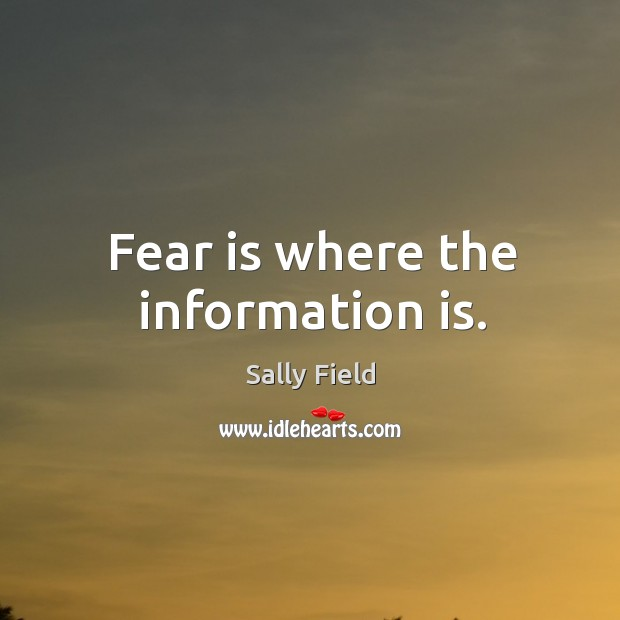Fear is where the information is. Sally Field Picture Quote